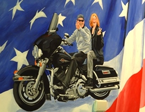 close up of Kirk and Patty on their Electra Glide